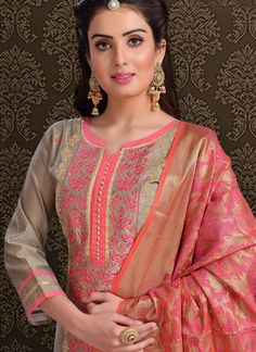 Genuine elegance can come out from your dressing style with this pink chanderi churidar designer suit. The embroidered work looks chic and excellent for any function. Comes with matching bottom and du. Chudidhar Neck Designs, Neck Designs For Suits, Sleeves Designs For Dresses, Neckline Designs, Dress Neck Designs, Blouse Designs, Punjabi Suit Neck Designs, Salwar Neck Designs, Churidar Designs