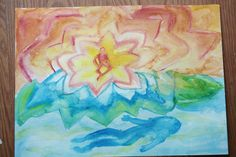 Waldorf ~ 5th grade ~ Ancient India ~ Vishnu in the Sea of Consciousness and Brahma on the Lotus ~ watercolor painting