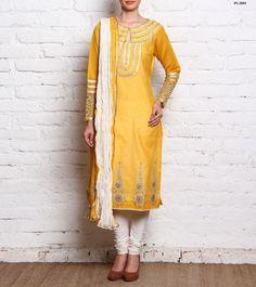 Mustard Yellow Silk Churidaar Dress Roka Ceremony Salwar Suit Plus Size PS-2093 #EthnicDresses #SalwarKameez