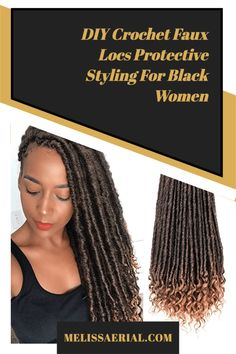 DIY Crochet Faux Locs Try New Hairstyles, Faux Locs Hairstyles, Protective Hairstyles For Natural Hair, African Braids Hairstyles, Texturizer On Natural Hair, Long Natural Hair, Natural Hair Updo, Natural Hair Styles, Diy Crochet Faux Locs