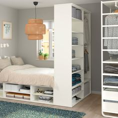 A tidy room is an efficient room. Apart from as creating more space, a tidy room will make finding your … Small Room Design Bedroom, Small Bedroom Storage, Bed Frame With Storage, Bed Storage, Room Decor Bedroom, Storage Spaces, Small Bedroom With Wardrobe, Ikea Small Bedroom, Wardrobe Bed