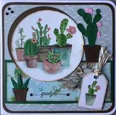 """Groetjes"" met papier en plaatjes van Herbs & Leaves van Marianne Design"
