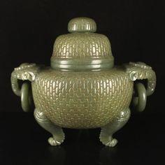 Chinese Hetian Jade Double Rings Big Incense Burner