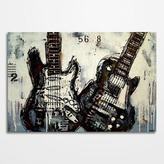 Guitar painting Music art Les Paul Gift for musician Electric guitar art, Original distressed acrylic painting on canvas by MagierFineArt