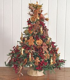 Mini tree for the kitchen - decorate with gingerbread men, dried orange slices, cinnamon sticks...smells wonderful!