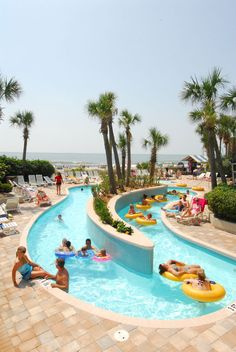 Outdoor oceanfront lazy river at Coral Beach Resort in Myrtle Beach, SC.