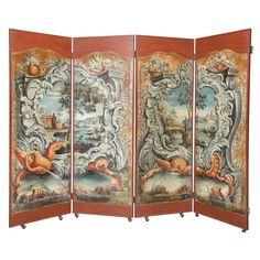 Four Panel Handpainted Folding Screen