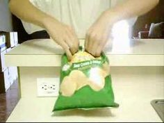 How to close a chip bag without using a clip.