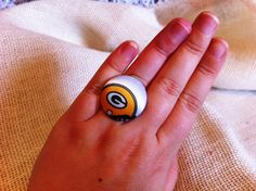 Packers Football Fan Ring Green Bay Packers by ButtonsAFluttur, $6.50