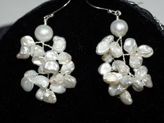 White Pearls Earrings Keishi Pearl Wire Wrap by Trendydeals, $28.95
