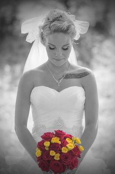 I love mixing color with black and white; roses; bride; wedding day; Oregon photographer White Roses, Color Mixing, Oregon, One Shoulder Wedding Dress, Wedding Day, Bride, Black And White, Wedding Dresses, Photography