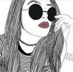 girl, outline, outlines, tumblr, tumblrish