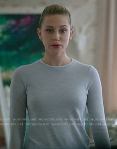 Betty's blue sweater with white scalloped trim on Riverdale. Outfit Details: https://wornontv.net/71045/ #Riverdale