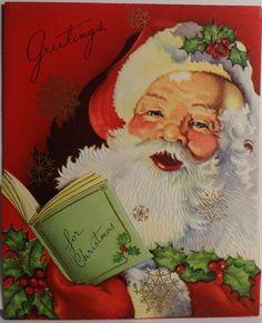 1940's Jolly Santa Claus Card *another beautiful Santa Claus!jn