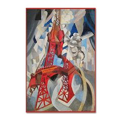 Red Eiffel Tower Delaunay 1911 by Vintage Apple Collection, 16x24-Inch Canvas Wall Art