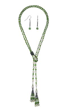 Jewelry Design - Lariat-Style Necklace and Earring Set with Czech Glass Beads and Seed Beads - Fire Mountain Gems and Beads