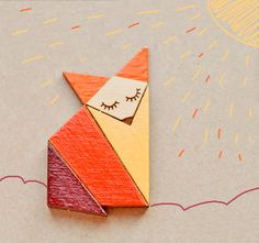 Wood Laser cut Brooch Orange Origami Fox. $14.00, via Etsy.