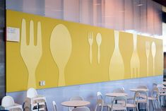 Not this particular design but I love the fork and spoon motif for a cafeteria Decoration Restaurant, Restaurant Design, Cafe Interior, Interior Design, Office Canteen, Cafeteria Design, Mensa, Lunch Room, Cafe Design