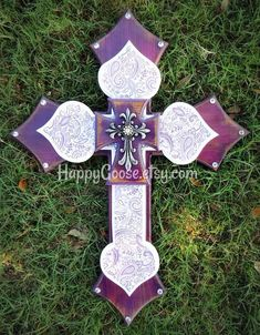 Wall CROSS - Wood Cross Large Wall CROSS - Antiqued purple with purple and white paisley print, topped with a silver decor cross. * measures 29 x * light protective clear coat * comes ready to hang ~~~~~~~~~~Please note:~~~~~~~~~~~~~~~~~~~~~~~~~~~~~~ Wooden Crosses, Wall Crosses, Cross Walls, Cross Drawing, Cross Art, Cross Crafts, Wall Wood, Beautiful Wall, Paisley Print