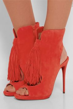 Heel measures approximately 120mm/ 5 inches Orange suede Zip fastening along side Made in Italy