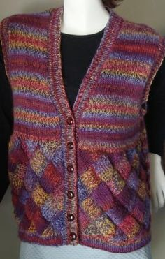 Taos Entrelac Vest - Taos 100% wool - Crystal Palace Yarns - free knit vest pattern