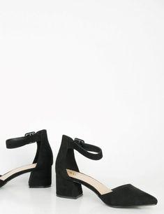 c01a8325f12 Image Showing is: Γυναικεία μαύρα γοβάκια σουέντ χοντρό τακούνι 192240L  Kitten Heels, Kittens,