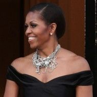 Michelle Obama wearing Tom Binns cascade of pearls and crystals for official dinner in London. Impeccable choice. Bracelet too.
