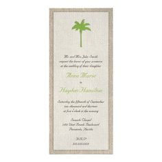 Shop Palm Tree & Burlap Wedding Invitation - Green created by ModernMatrimony. Personalize it with photos & text or purchase as is! Nautical Wedding Invitations, Beach Theme Wedding Invitations, Personalized Wedding Favors, Floral Wedding Invitations, Wedding Stationary, Invites, Wedding Catering Prices, Palm, Wedding Ideas