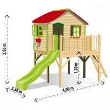 kids playhouse - This is totally the idea of what I want to build for our boys. But I would do a wrap around deck on it with stair instead of a ladder.
