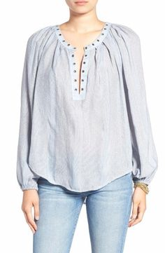 Free People Against All Odds Grommet Blouse Size Small Blue $128 FTC #3776
