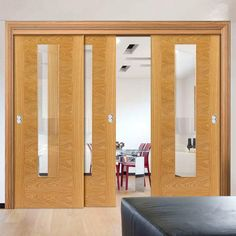 Thruslide Brisa Ostria Flush Oak 3 Sliding Doors and Frame Kit- Clear Glass - Prefinished - Lifestyle Image. Internal Sliding Doors, Sliding Glass Door, Interior Panel Doors, Door Kits, Oak Doors, Clear Glass, Mirror, Dan, Living Room