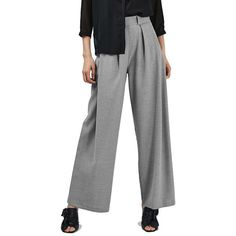 Women's Topshop Wide Leg Trousers ($85) ❤ liked on Polyvore featuring pants, grey, topshop pants, wide leg trousers, gray pants, grey pants and pleated trousers