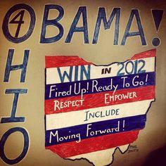 6 de junio de 2012/ La campaña de Obama busca destacar a través del blog de barackobama.com los esfuerzos de distintos equipos a través del país, sobre todo los referentes a los estados clave. El equipo de Chicago hace visible así la creatividad de las personas de base, clave para animar a los voluntarios y trabajadores y que anima a construir un movimiento de abajo arriba. Aquí vemos un póster de apoyo realizado por personas en Ohio.