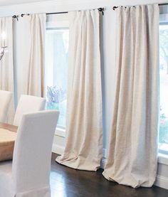 White canvas cloth drapery