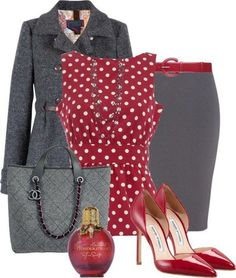 Love the red and grey and the polka dots