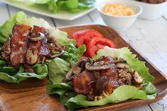 Low Carb Bacon Mushroom Cheeseburger Lettuce Wraps