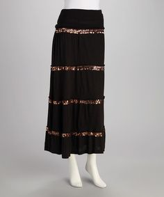 Take a look at this Black Sequin Peasant Skirt by Analogy on #zulily today!