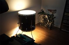 Fun drum light, perfect for a studio. Music Furniture, Cool Furniture, Drum Room, Drum Table, Deco Originale, Music Decor, Instruments, Lights, Home Decor