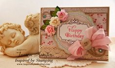 Inspired by Stamping Graceful Hydrangea Stamp Set, Shabby Chic Card, Birthday Card