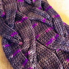 A Very Brady Cowl, knit in Delicious Yarns Sweets Worsted in 'Blackberry'