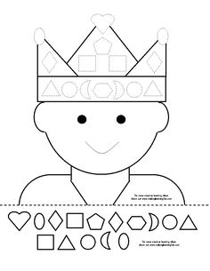 Cut and glue. Can also glue on jewel pieces to decorate crown. Les Trois Rois Mages, Pre School, Sunday School, Chateau Moyen Age, Maternelle Grande Section, Shape Games, Princess And The Pea, Bible Crafts, Kindergarten Activities