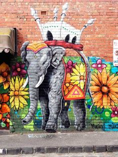 """ELEPHANT & FLOWERS"" Love this! So positive! Melbourne Street Art. Laneways Life: Exploring Melbourne's Street Art Scene on TheCultureTrip.com. Click the image to read the article. (Image via howdystranger.com)."