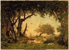 Théodore Rousseau | Sortie de forêt à Fontainebleau, soleil couchant | Images d'Art