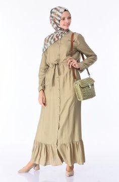 Sefamerve, Boydan Düğmeli Kuşaklı Elbise 1030-06 Açık Yeşil Color Tag, Green Dress, Green Colors, Evening Dresses, Raincoat, Product Launch, Long Sleeve, Sleeves