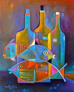 Cubist painting Abstract modernist Original artwork still life Fish Wine Marlina Vera Fine Fine Art Cubism Fauve Cubiste Poisson Eames style Cubist Paintings, Your Paintings, Original Paintings, Original Artwork, Composition Art, European Paintings, Modern Artwork, Art Plastique, Abstract Photography