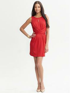 Issa Collection Red Wrap-Tie Dress | Banana Republic