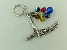 Silver Dagger Charm and Multi Coloured Crystal Bead Key Ring £5.00