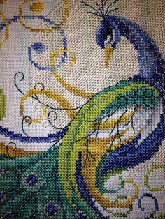 majestic swirling peacock from joan elliott is made in cross stitch