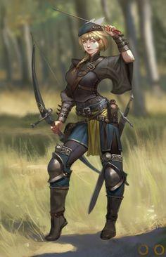 f Ranger Med Armor Longbow Sword midlvl forest hills farmland Archer by ㅇㅇ Joo on ArtStation.