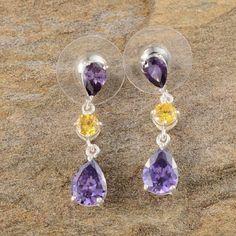 PURE 925-STERLING SILVER EARRINGS W/CZ STONES BEAUTIFUL WOMEN'S EARRINGS SET IN PURE 925-STERLING SILVER W/PURPLE AND YELLOW CUBIC ZERCONIAS -TCW-5.96 Jewelry Earrings